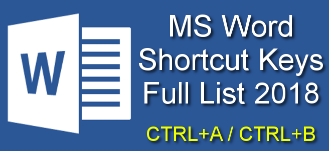 Shortcut Keys In MS Word