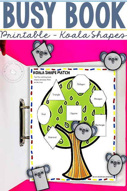 Looking for some great and simple DIY busy book printables? I love creating these. I've just made a super cute koala themed busy book printable to teach shapes. Do you know how easy it is to create a busy book printable?