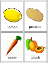 Fruits and vegetables lottery ~ Lotería de frutas y verduras en inglés