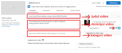 cara memberi judul video, deskripsi dan tag pada saat upload video
