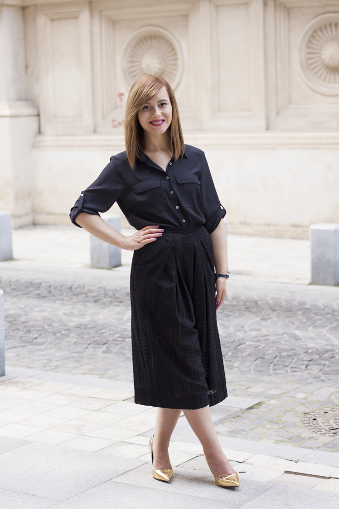 how to style the black culottes