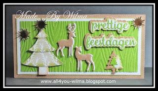 Een slimline-kerstkaartje met kerstboom en 2 herten/reeën. A slimline-Christmas-card with Christmas-tree and 2 deer.
