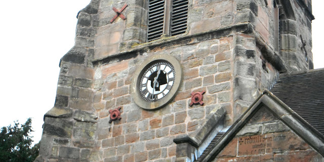 Clock-tower of old St John the Baptist Church in Barlaston.