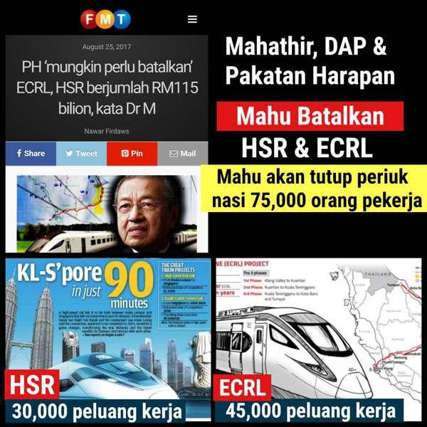 Kalau Pakatan Harapan Perintah, Projek HSR & ECRL Mereka Akan Dibatalkan