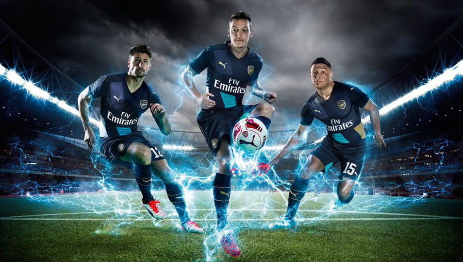 f82efd9fe13 PUMA complete their 2015/16 Arsenal replica collection with the new third  kit to be worn in away cup matches this season as the Gunners look to  retain their ...