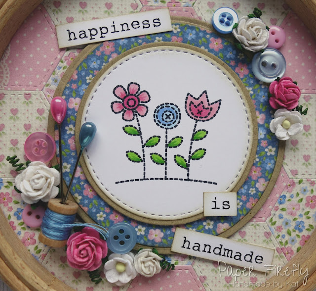 Sewing themed decorated wooden embroidery hoop