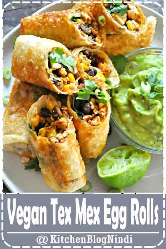 4.9★★★★★ | Vegan egg rolls filled with taco tofu, black beans, corn and cilantro. With an avocado buttermilk ranch dip! #Vegan #TexMex #EggRolls
