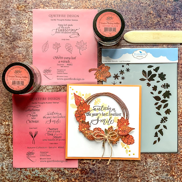 Quietfire Design stamps and Modern Gilding Powders / card design by Kim Gowdy