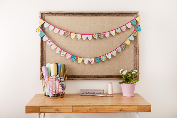 fabric bunting made using cricut maker