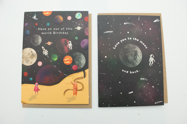 Space themed greeting cards