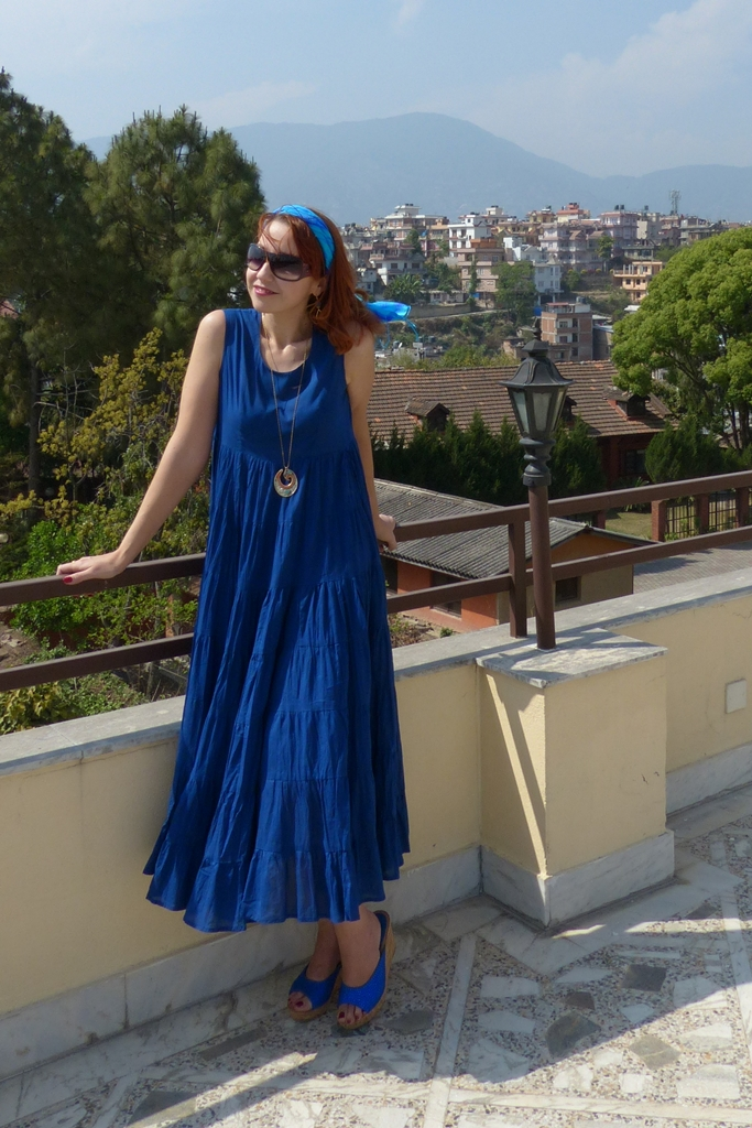 Navy blue maxi dress, pure silk blue headscarf