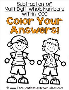 Fern Smith's Classroom Ideas Subtraction Multi-Digit Numbers Within 1000 - Color Your Answers Printables - No Common Core
