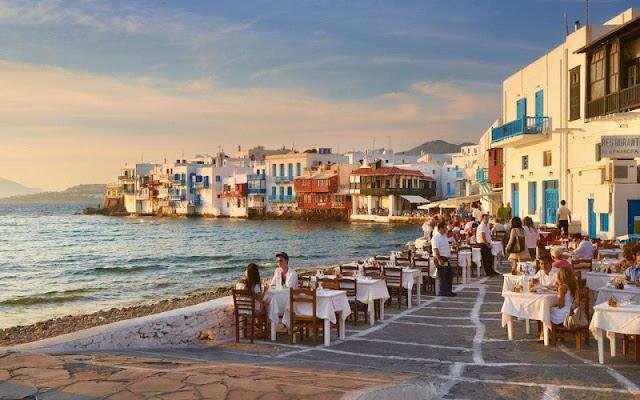 Restaurantes na ilha de Mykonos, Grécia