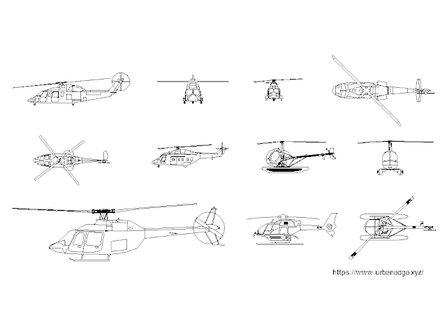 Helicopters dwg free cad blocks download