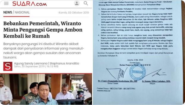 Wiranto Sebut Pengungsi Ambon Bebankan Pemerintah, Maluku Minta Dihapus Dari Peta Indonesia