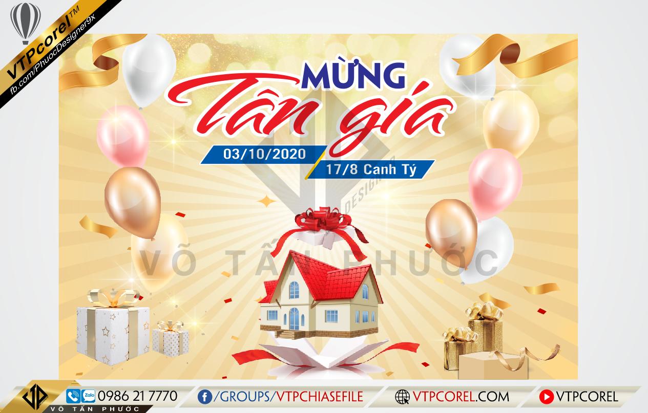 Phông Mừng tân gia nền Vàng Gold sang trọng CDR12 | VTPcorel |