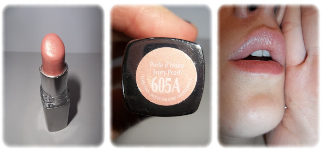 Swatch Rouge à Lèvres Watershine Pearl - Gemey Maybelline - Teinte 605A Perle d'Ivoire