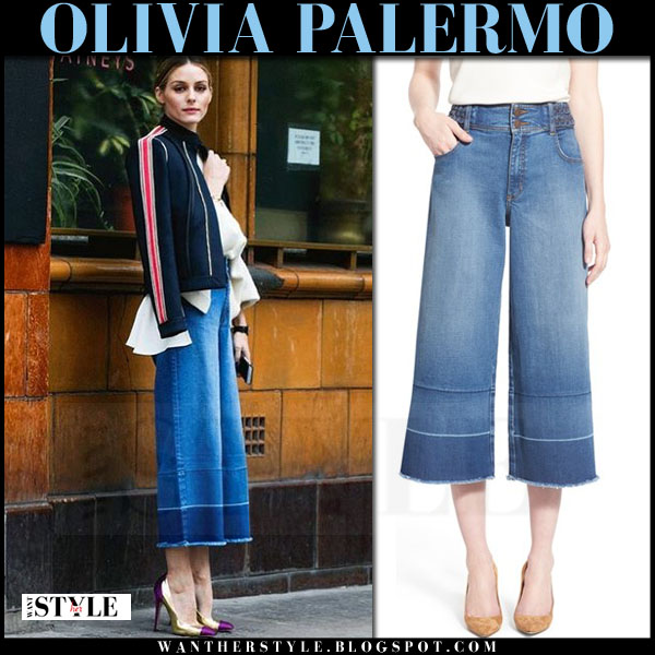 Olivia Palermo in denim cropped culottes chelsea28 collection what she wore london fashion week