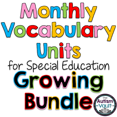 Monthly Vocabulary units for Autism and Special Education....practice labeling vocabulary words and identifying feature, function, and class of monthly-themed words