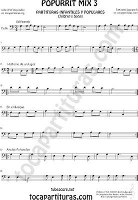 Partitura de Violonchelo Solfeando, Historia de un Lugar, En el Bosque y Anclas Potanclas Popurrí Mix 3 Sheet Music for Cello Music Scores