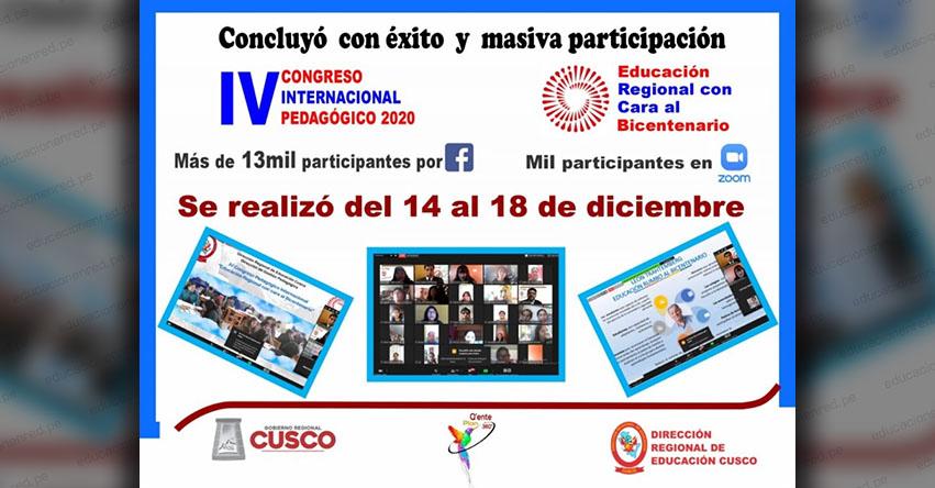 DRE Cusco realizó con éxito el IV Congreso Pedagógico Internacional denominado «Educación Regional con Cara al Bicentenario»