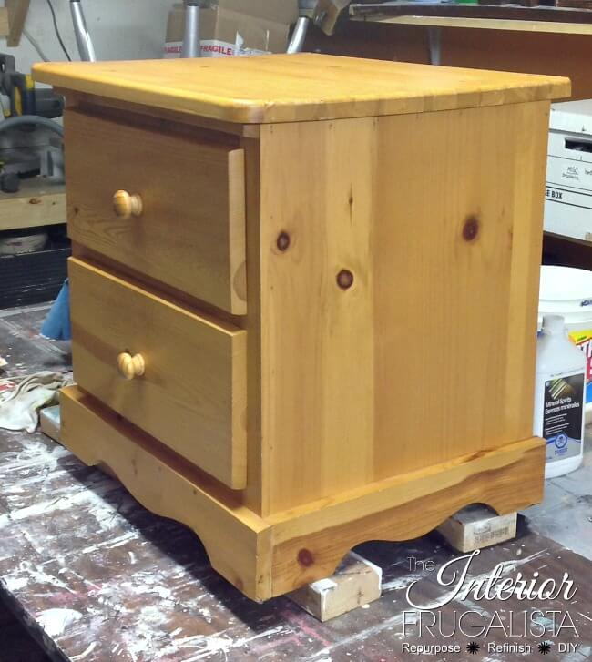 Greek Key Pine Bedside Table Before