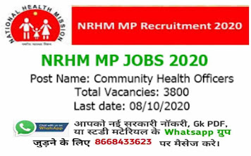 MP NRHM CHO Vacancy 2020-21 Online Application from