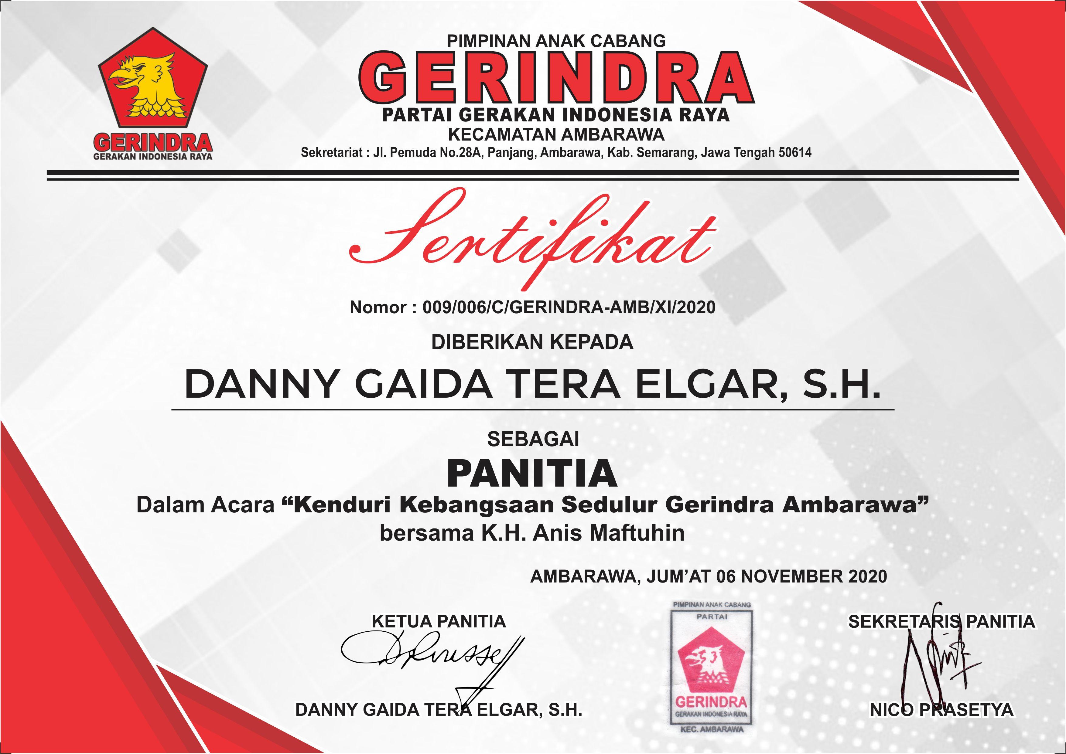 Pimpinan Anak Cabang (PAC) Partai Gerakan Indonesia Raya (Gerindra) Kecamatan Ambarawa, Kabupaten Semarang, Jawa Tengah