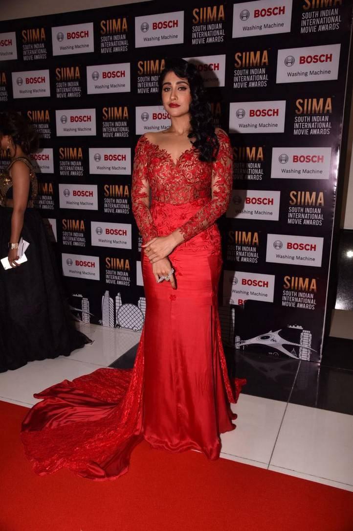 Actress Regina Cassandra Photos At SIIMA Awards 2017 In Red Gown