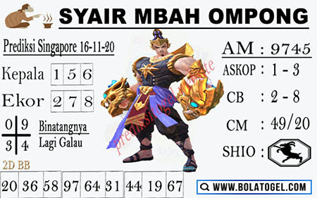 Syair Mbah Ompong SGP Senin 16 November 2020