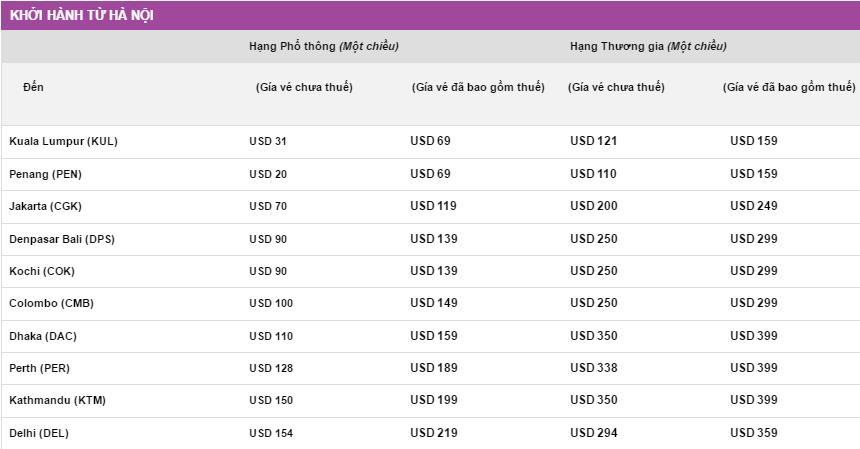 giá vé khuyến mãi Malindo Air mới nhất ngày 30-05 bay từ hà nội
