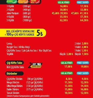 komagene güncel menü fiyat listesi sipariş