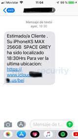 Mensaje SMS fraudulento que llega a la víctima indicando que su iPhone ha sido localizado.