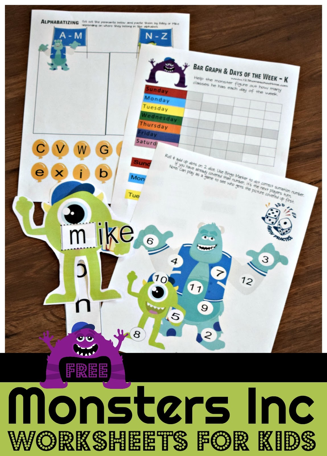 FREE Monsters Inc. Worksheets for Kids