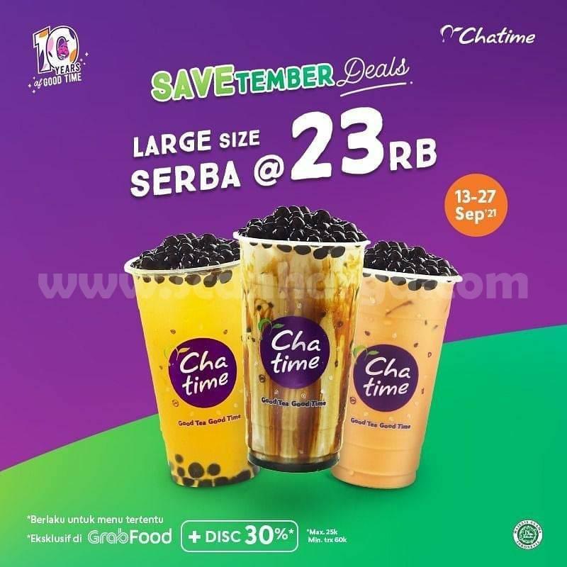 Promo CHATIME Beli Chatime Large + Pearl cuma Rp. 23.000 via GRABFOOD