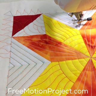 How to machine quilt a Sun Star quilt block