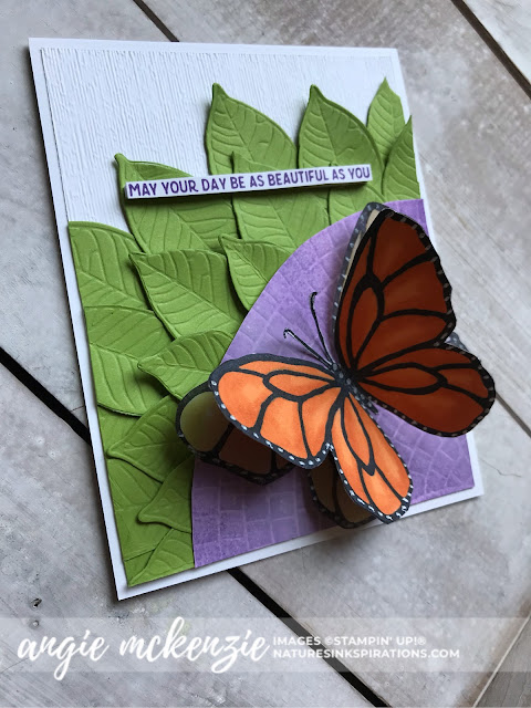 Created by Angie McKenzie for Global Creative Inkspirations; Click READ or VISIT to go to my blog for details! Featuring the Beautiful Day Stamp Set, Nature's Roots Dies, Mosaic Embossing Folder, Subtles Embossing Folder; #beautifuldaystampset #inspiredbynature #futteringbutterfly #stampinupinks  #fauxoxidetechnique #fussycutting #friendshipcards #cardtechniques #coloringwithblendsmarkers