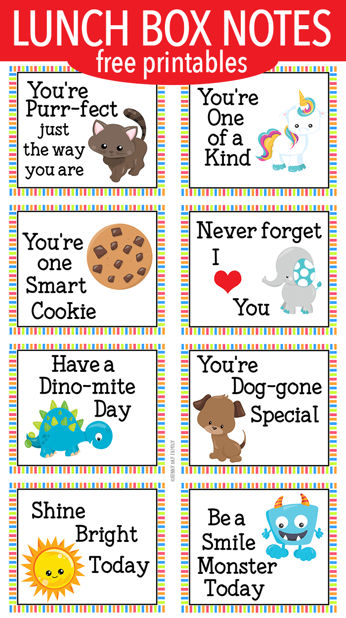 Free printable lunch box notes for little kids! Encouraging lunch box notes for preschoolers or kindergarten. Kids will love these inspirational lunch box notes with fun cartoon characters. Colorful lunch box notes for kids! Back to School | Lunch Hacks | Lunchbox Notes | School Lunch | Lunch Packing