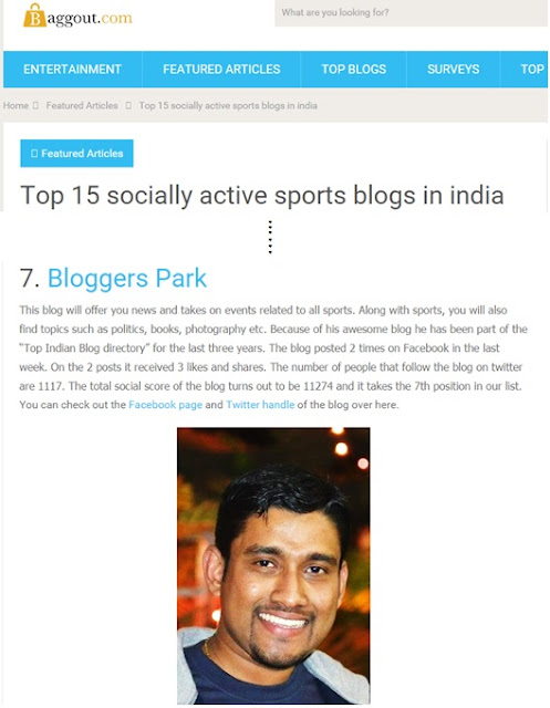 Baggout.com Top 15 Socially active Sports blog in India 2015