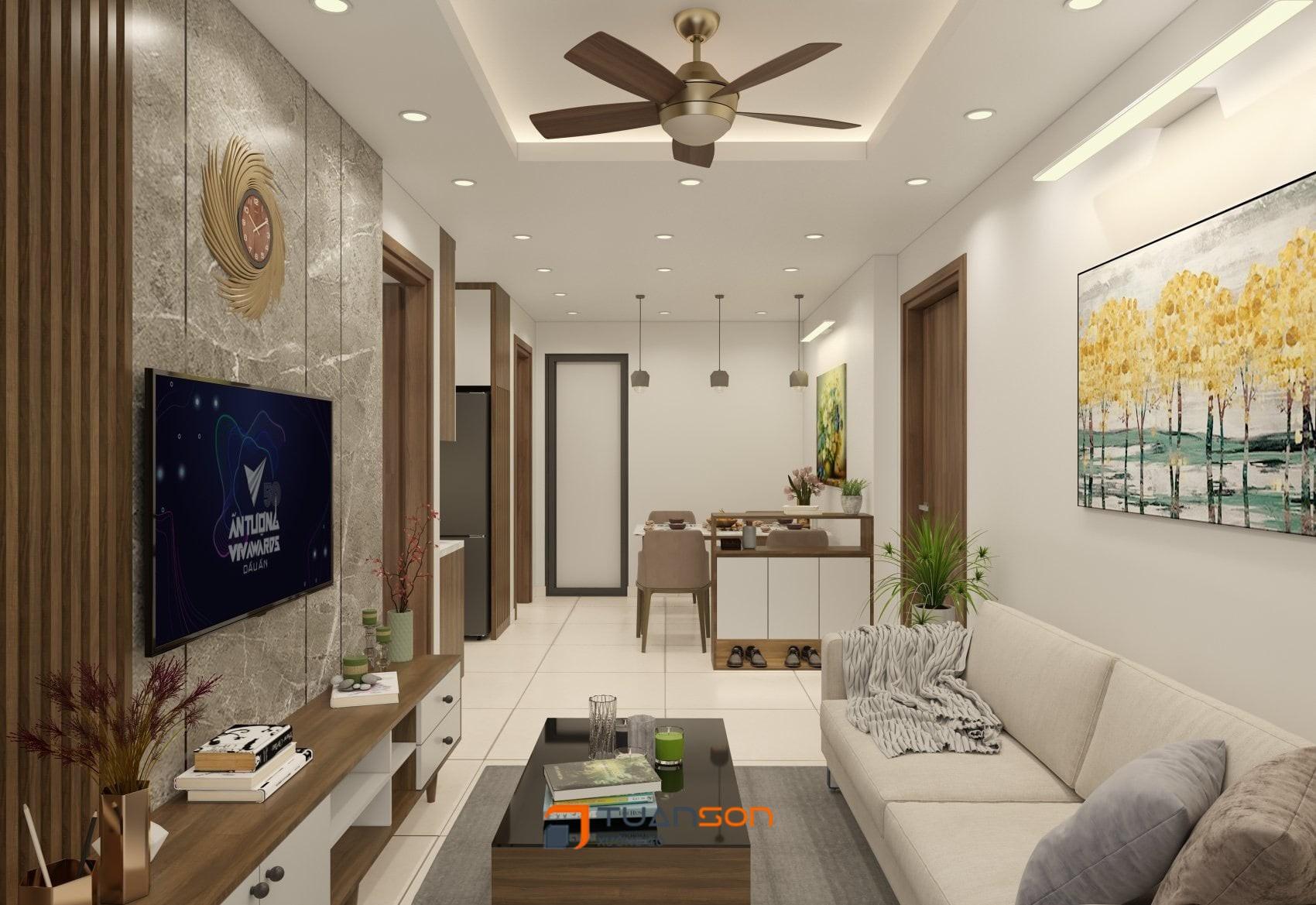 Thiết kế nội thất căn hộ 2 phòng ngủ (54m2) IEC Thanh Trì