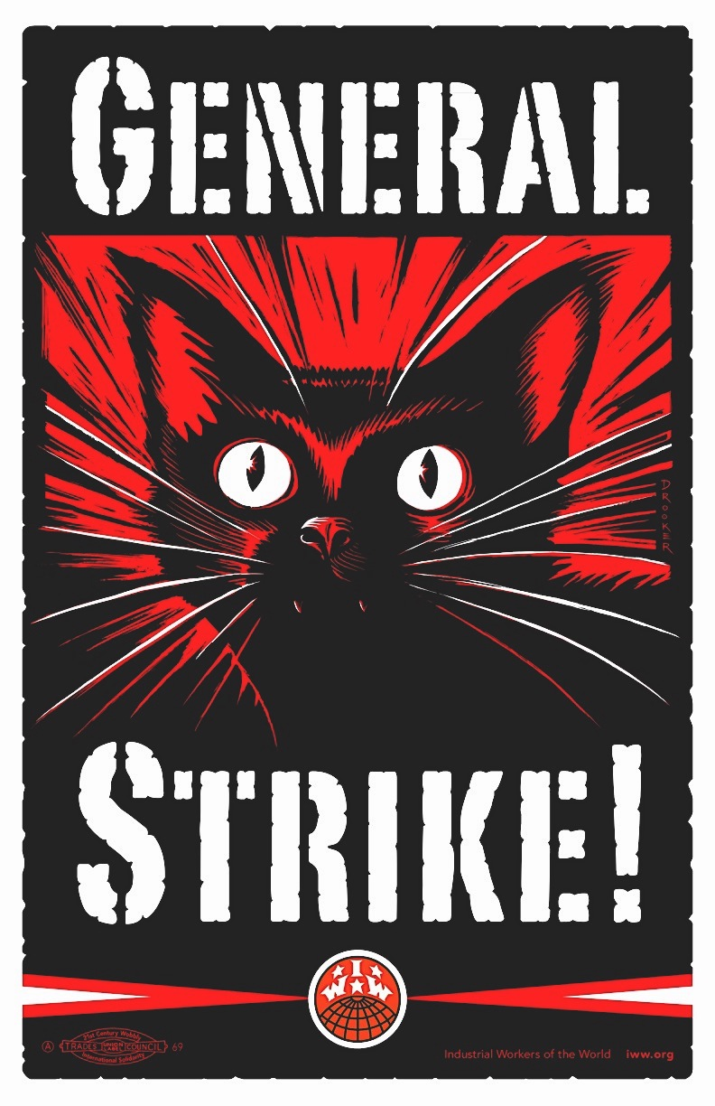 Eric Drooker GENERAL STRIKE! a dramatic cat in red and black