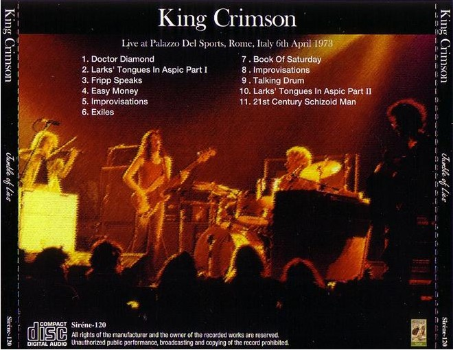 Thinkfloyd61 king crimson palazzo del sport rome for Sites like uloz to