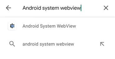 بحث عن Android System Webview