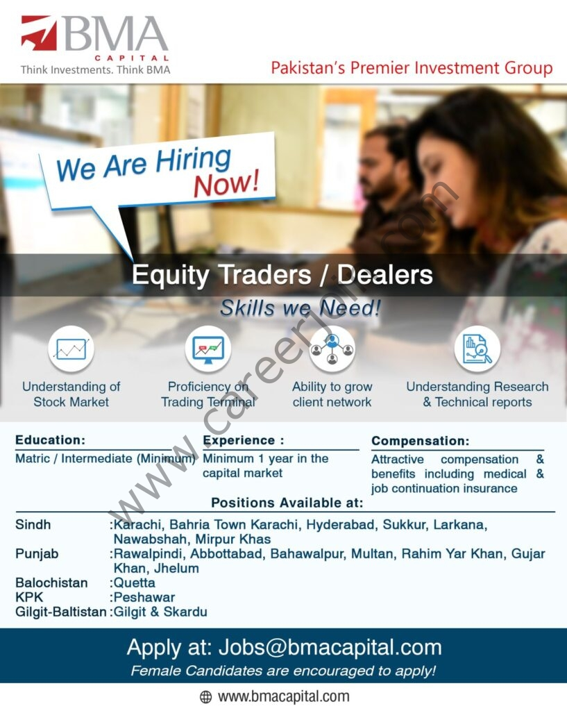 BMA Capital Management Ltd Jobs Equity Traders / Dealers