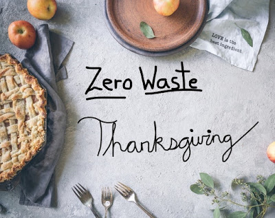 A collage of thanksgiving items including a pie, apples, and forks with the words Zero Waste Thanksgiving in the center