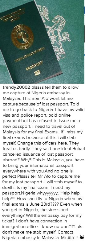 Nigerian student in Malaysia threatens to commit suicide if passport is not renewed
