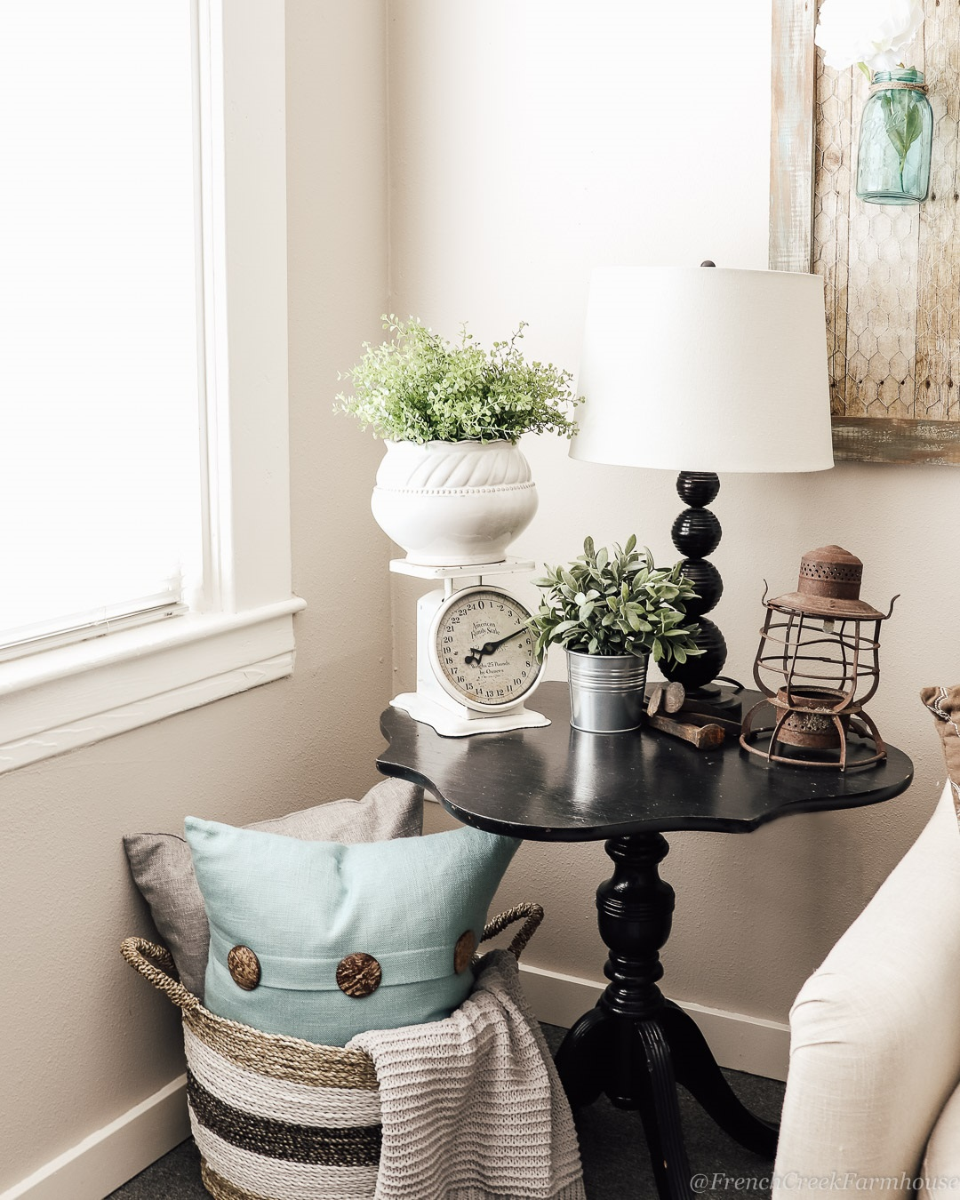 A vintage scale is great for adding height to vignettes