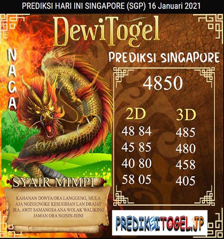 Prediksi Dewi Togel Singapura Sabtu 16 Januari 2021