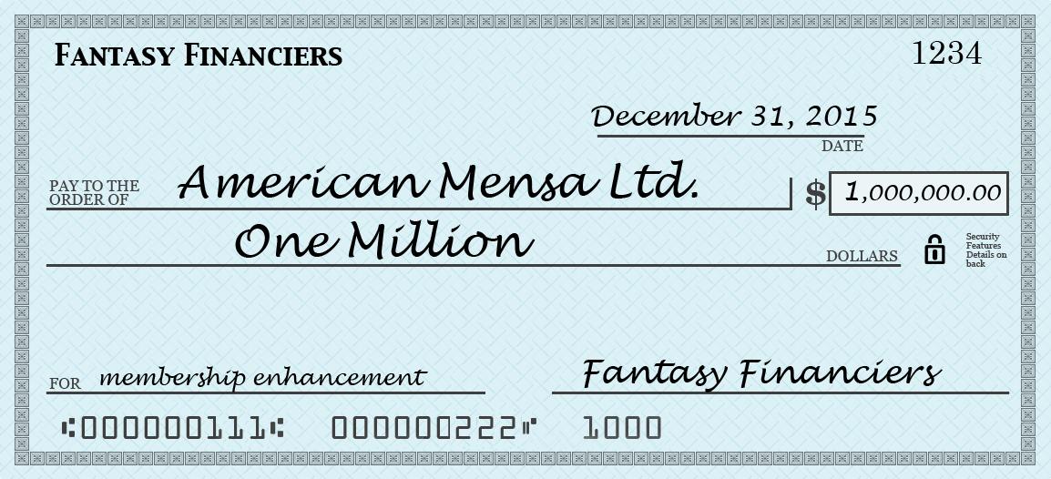 forest  maves if mensa had a million dollars