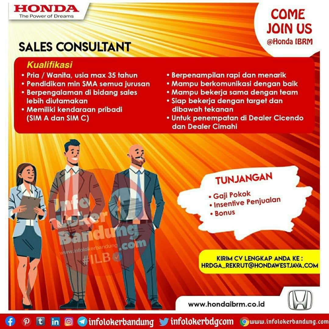 Lowongan Kerja Honda IBRM Bandung November 2020